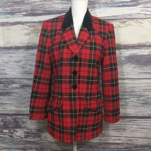 Pendleton black and red plaid holiday coat size 8